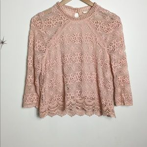 Sophie Rue / Anthropologie Pink Lace Top